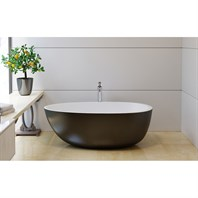 Aquatica Spoon 2 Egg Shaped Black-Wht Solid Surface Bathtub - Matte Black and White Aquatica Spoon2M-Blck-Wht