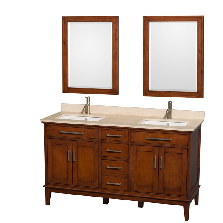 "Hatton 60"" Double Bathroom Vanity by Wyndham Collection - Light Chestnut WC-1616-60-DBL-VAN-CLT"
