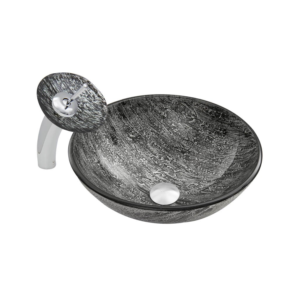 VIGO Titanium Glass Vessel Sink and Waterfall Faucet Setnohtin Sale $245.90 SKU: VGT039 :