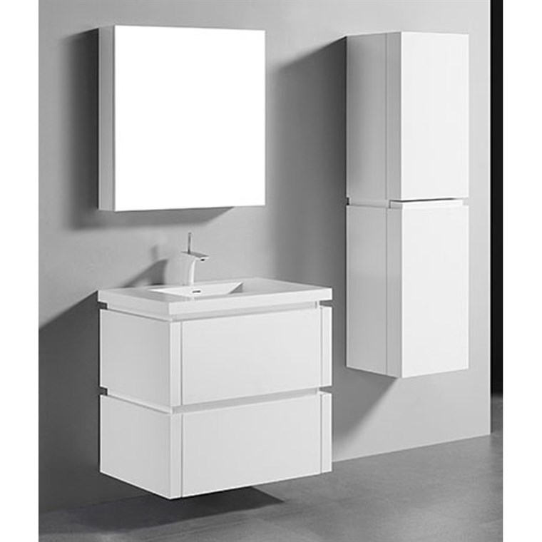 "Madeli Cube 30"" Wall-Mounted Bathroom Vanity for Integrated Basin - Glossy White B500-30-002-GW"