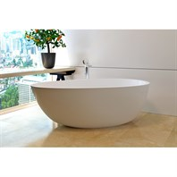 Aquatica Spoon 2 (Purescape 204AM) Egg Shaped Freestanding Solid Surface Bathtub - Matte White Aquatica Spoon2WM