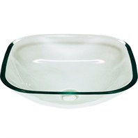 Jade Square Glass Vessel Sink - Clear