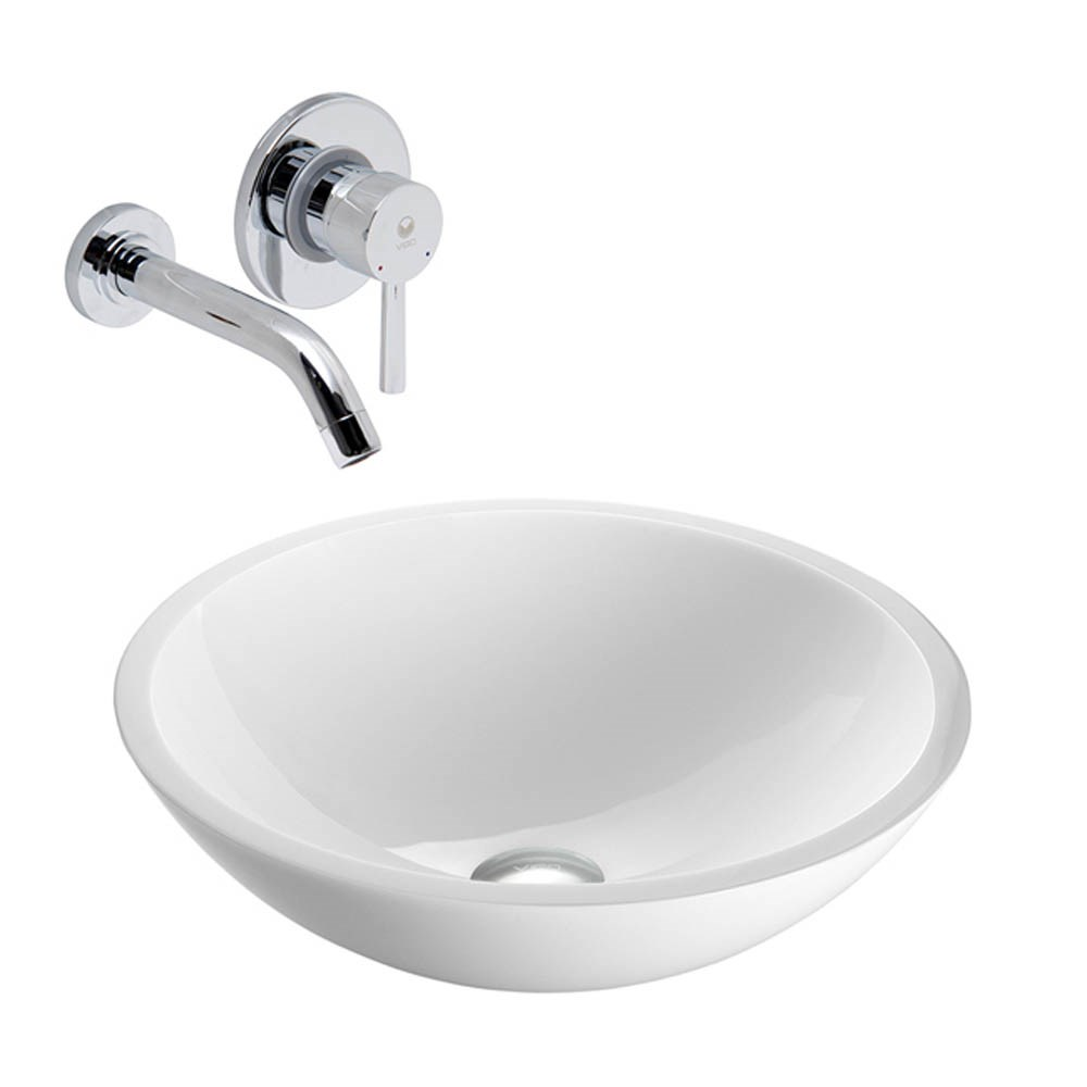 VIGO Flat Edged White Phoenix Stone Vessel Sink with Olus Wall Mount Faucetnohtin Sale $229.90 SKU: VGT224- :
