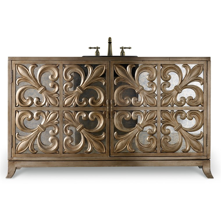 "Cole & Co. 56"" Designer Series Fleur-De-Lis Vanity - Handpainted Matte Gold Leaf 11.22.275556.71"