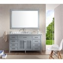 "Ariel Kensington 61"" Single Sink Vanity Set with Carrera White Marble Countertop - Grey D061S-GRY"