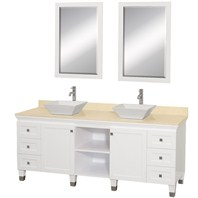 "Premiere 74"" Modern Bathroom Double Vanity Set by Wyndham Collection - White w/ Ivory Marble Counter"