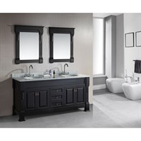 "Design Element Marcos 72"" Double Sink Vanity Set with Carrara White Marble Countertop - Espresso DEC081-WTP"