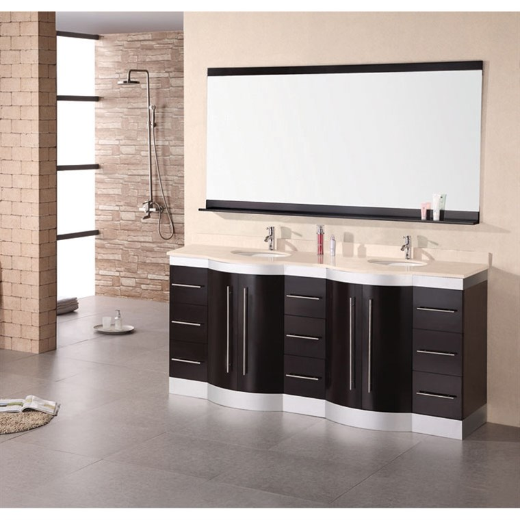 "Design Element Jade 72"" Double Sink Vanity Set w/ Travertine Stone Countertop - Espresso DEC023-TTP"