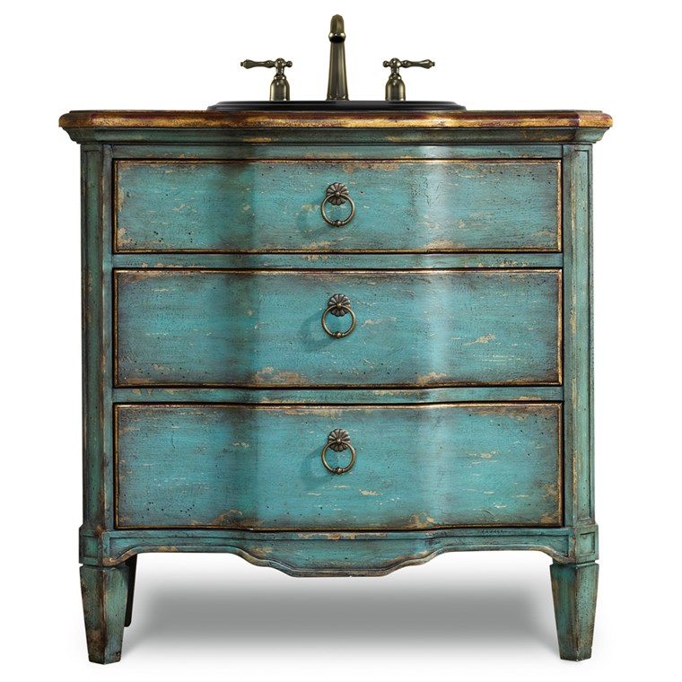 "Cole & Co. 32"" Designer Series Buckner Hall Chest - Rustic Turquoise Finish 11.22.275532.38"