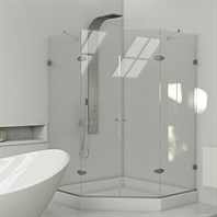 VIGO Frameless Neo Angle Double Door Shower Enclosure With Base   47u0026quot;  X 47u0026quot