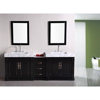 "Design Element Odyssey 90"" Double Sink Bathroom Vanity - Espresso DEC101"