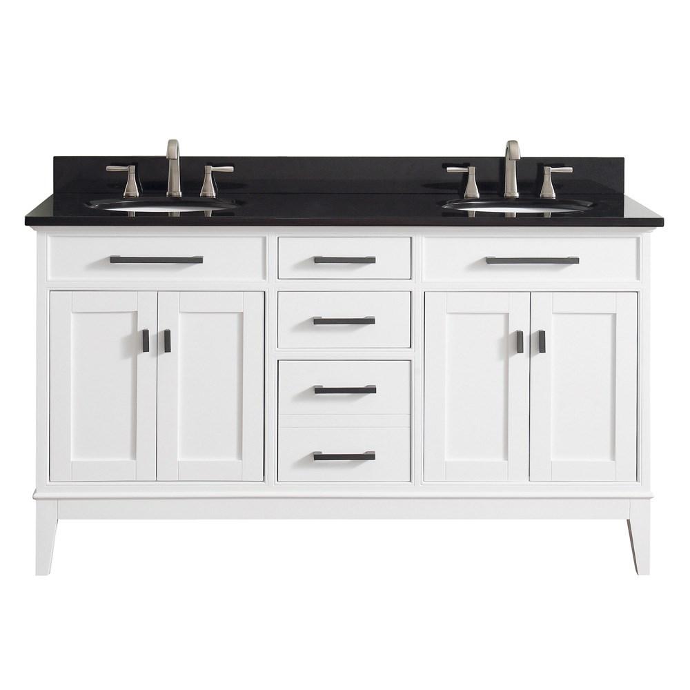 "Avanity Madison 60"" Double Bathroom Vanity - Whitenohtin Sale $1156.00 SKU: MADISON-60-WT :"
