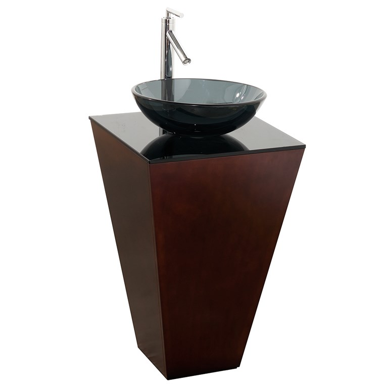 Esprit Bathroom Pedestal Vanity Set by Wyndham Collection - Espresso w/ Smoke Glass Vessel Sink WC-CS004-20-ESP-B015