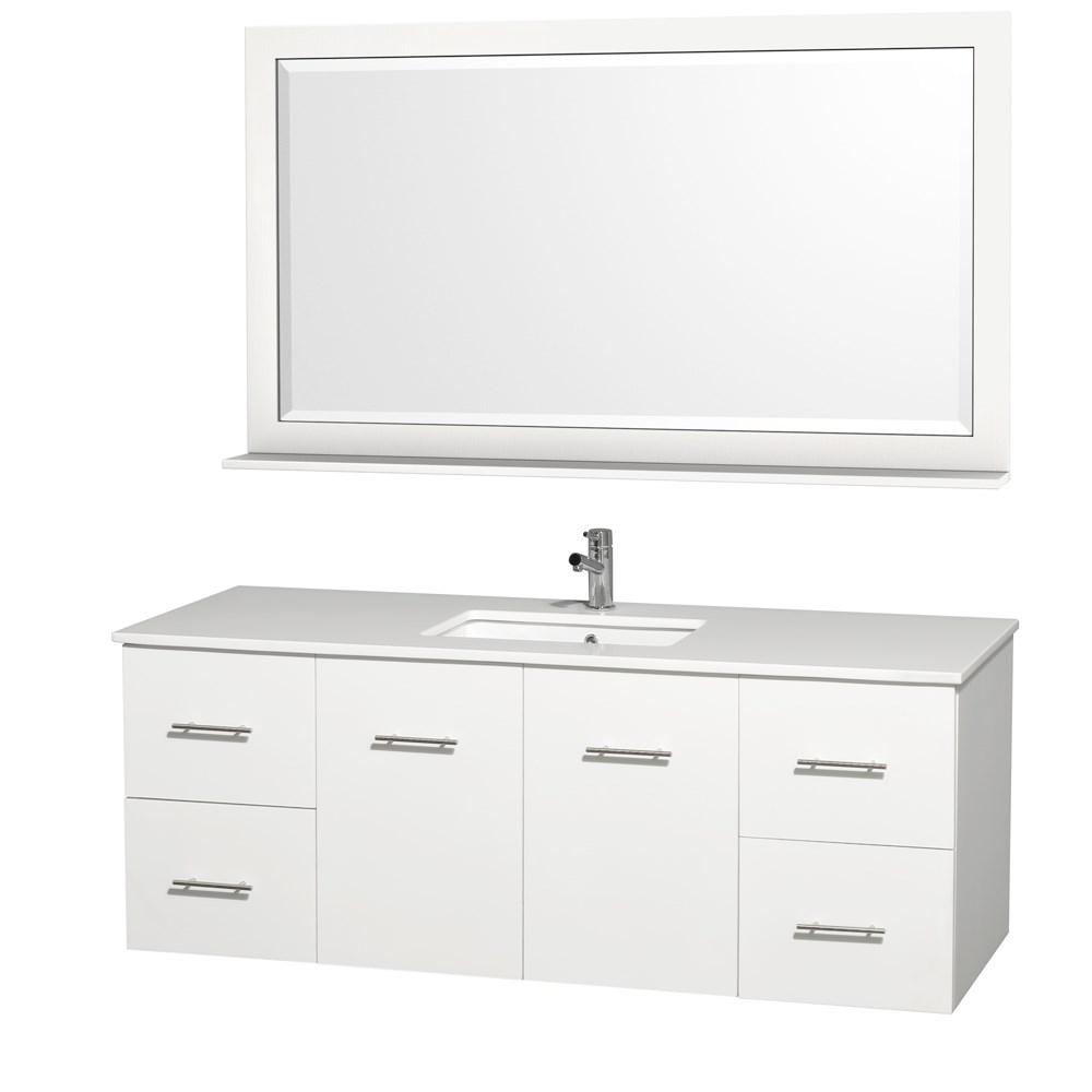"Centra 60"" Single Bathroom Vanity for Undermount Sinks by Wyndham Collection - Matte Whitenohtin Sale $1299.00 SKU: WC-WHE009-60-SGL-VAN-WHT- :"