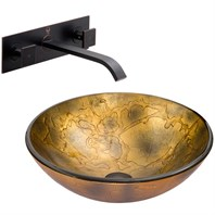 VIGO Copper Shapes Glass Vessel Sink and Titus Wall Mount Faucet Set in Antique Rubbed Bronze VGT336