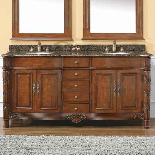 "James Martin 72"" Florentine Double Vanity with Granite Top - Cherry 206-001-5508"