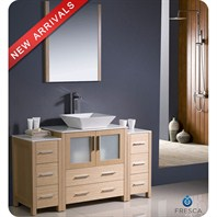 "Fresca Torino 54"" Light Oak Modern Bathroom Vanity with 2 Side Cabinets & Vessel Sink FVN62-123012LO-VSL"