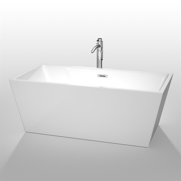 "Sara 63"" Soaking Bathtub by Wyndham Collection - White WC-BTK1514-63"