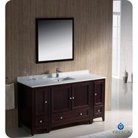 "Fresca Oxford 60"" Traditional Bathroom Vanity with 2 Side Cabinets - Mahogany FVN20-123612MH"