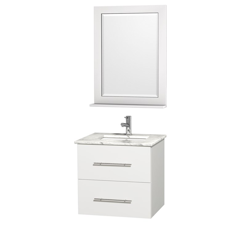 "Centra 24"" Single Bathroom Vanity for Undermount Sinks by Wyndham Collection - Matte White WC-WHE009-24-SGL-VAN-WHT-"
