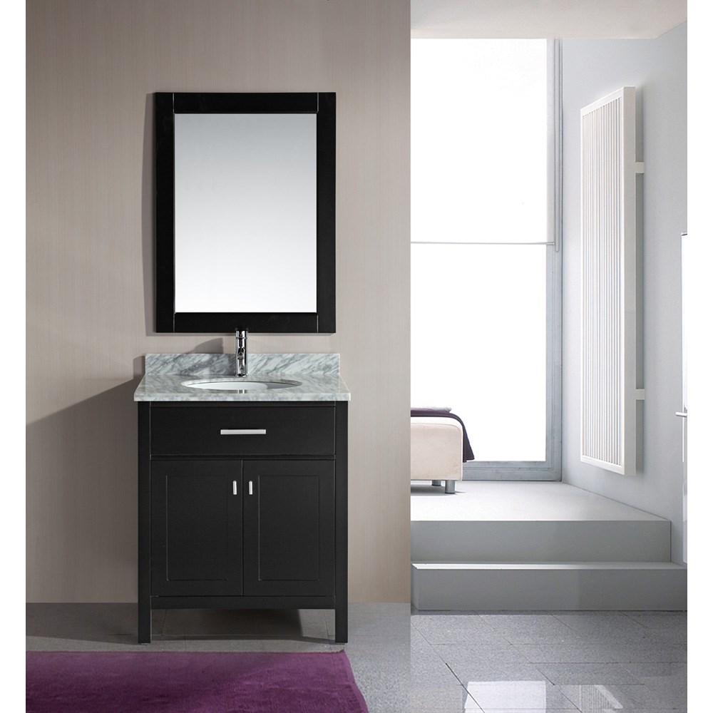 """Design Element London 30"""" Single Vanity with White Carrera Countertop, Sink and Mirror - Espressonohtin Sale $949.00 SKU: DEC076E :"""