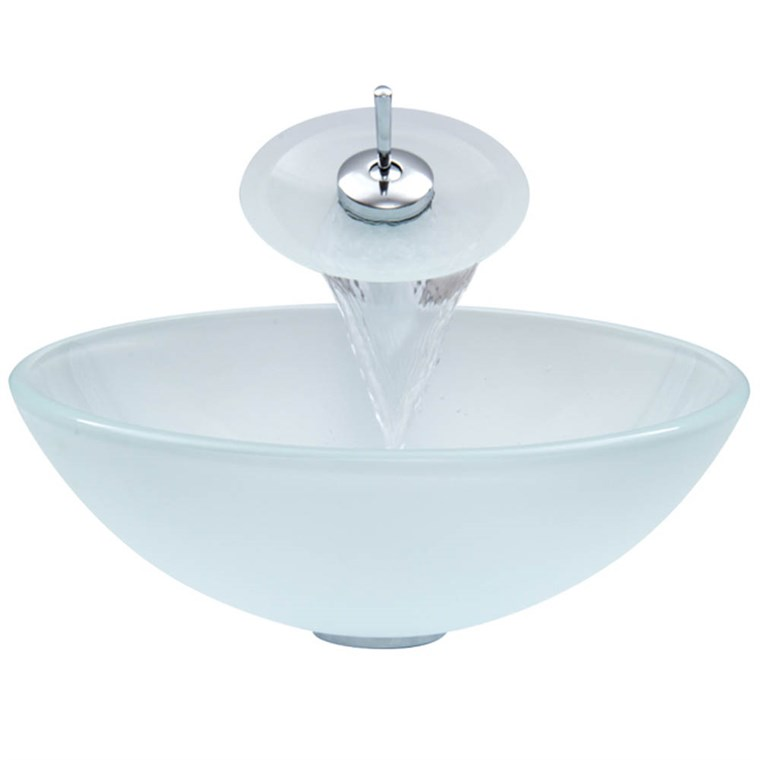 VIGO White Frost Glass Vessel Sink and Waterfall Faucet Set VGT036