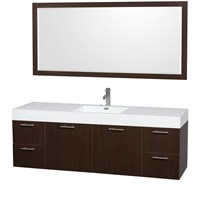 "Amare 72"" Wall-Mounted Single Bathroom Vanity Set with Integrated Sink by Wyndham Collection - Espresso WC-R4100-72-VAN-ESP-SGL"