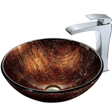 Vigo Kenyan Twilight Glass Vessel Sink and Faucet Set in Chrome VGT185 by Vigo Industries