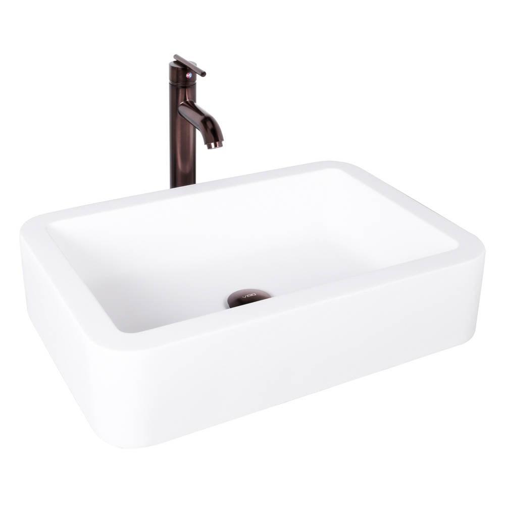 VIGO Navagio Matte Stone Vessel Sink and Seville Bathroom Vessel Faucet in Oil Rubbed Bronzenohtin Sale $269.90 SKU: VGT1006 :