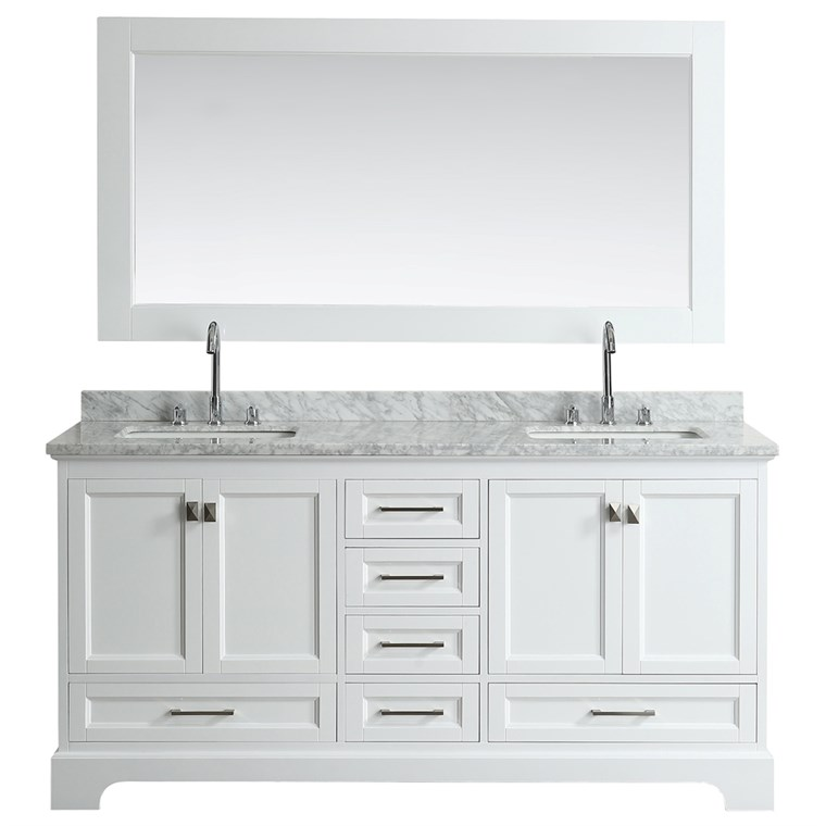 "Design Element Omega 72"" Double Sink Vanity - White DEC068B-W"