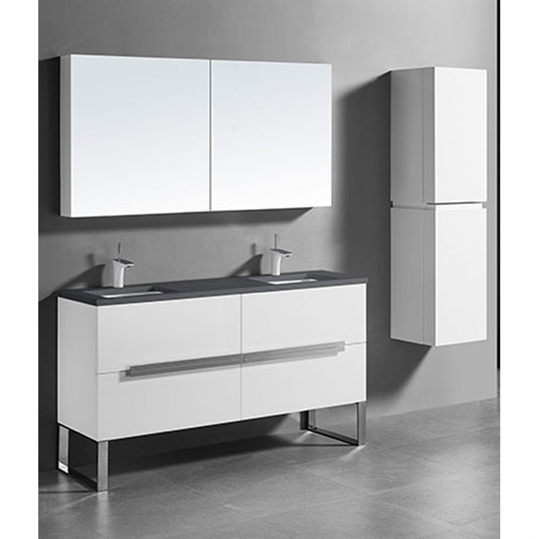 "Madeli Soho 60"" Double Bathroom Vanity for Quartzstone Top - Glossy White B400-60D-001-GW-QUARTZ"