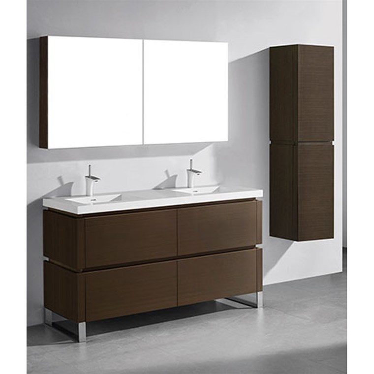 "Madeli Metro 60"" Double Bathroom Vanity for Integrated Basin - Walnut B600-60D-001-WA"