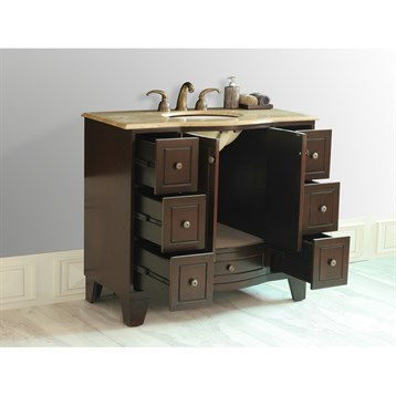 stufurhome 40 grand cheswick single sink vanity with travertine