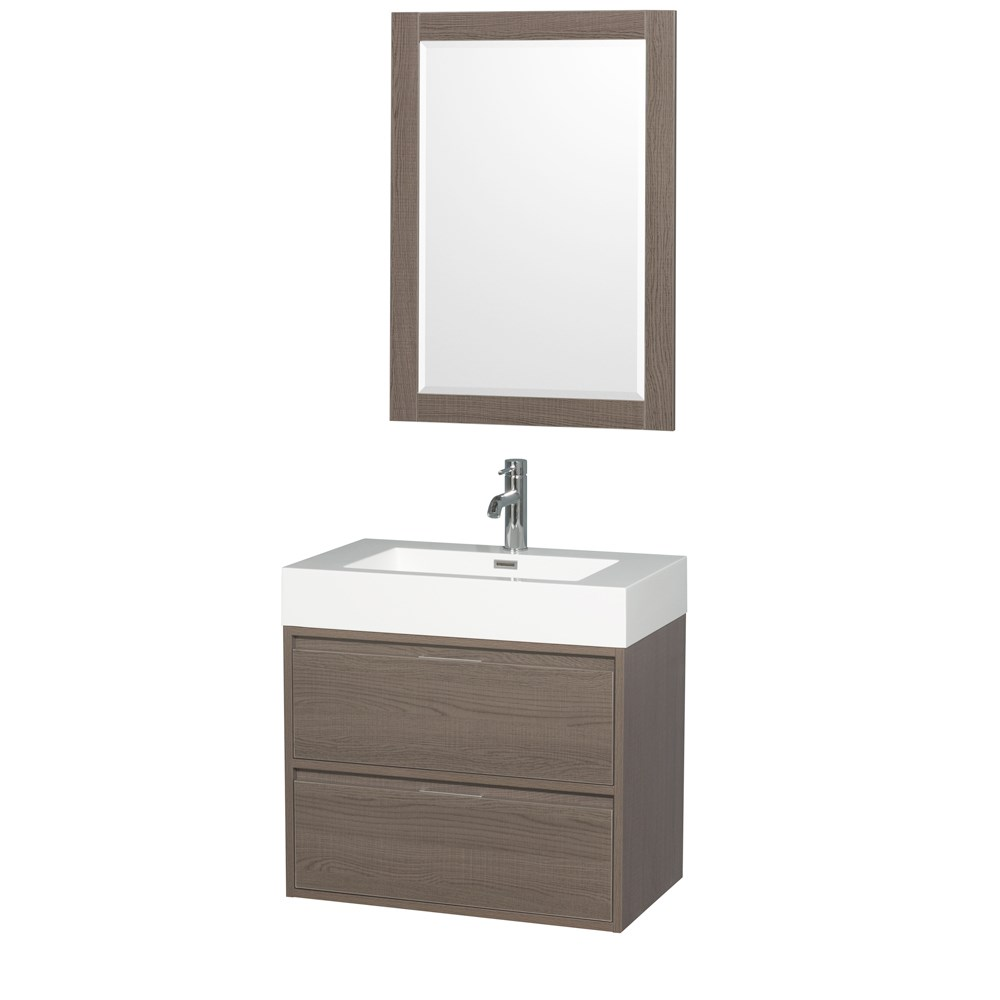 """Daniella 30"""" Wall-Mounted Bathroom Vanity Set With Integrated Sink by Wyndham Collection - Gray Oaknohtin Sale $699.00 SKU: WC-R4600-30-VAN-GRO :"""