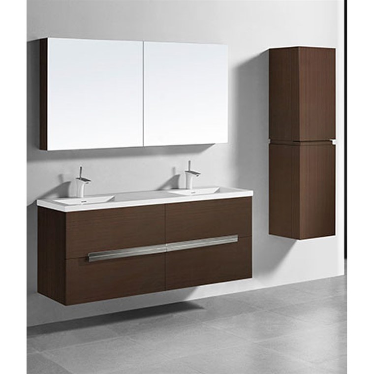 "Madeli Urban 60"" Double Bathroom Vanity for Integrated Basin - Walnut B300-60D-002-WA"