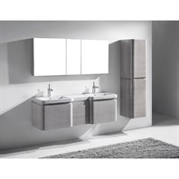 "Madeli Euro 60"" Double Bathroom Vanity with Integrated Basins - Ash Grey 2X-B930-24-002-AG, UC930-12-007-AG"