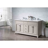 "Stufurhome Arianny 59"" Double Sink Bathroom Vanity with White Quartz Top - Taupe TY-7340-59-QZ"