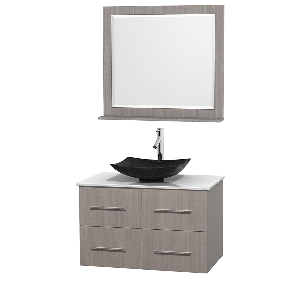 "Centra 36"" Single Bathroom Vanity for Vessel Sink by Wyndham Collection - Gray Oaknohtin Sale $949.00 SKU: WC-WHE009-36-SGL-VAN-GRO_ :"