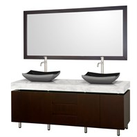 "Malibu 72"" Double Bathroom Vanity Set by Wyndham Collection - Espresso Finish with White Carrara Marble Counter WC-CG3000-72-ESP-WHTCAR-"