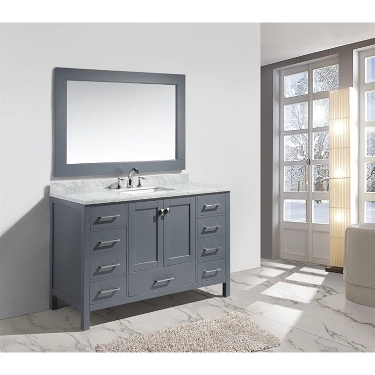 "Design Element London 54"" Single Sink Vanity Set - Gray DEC082D-G"