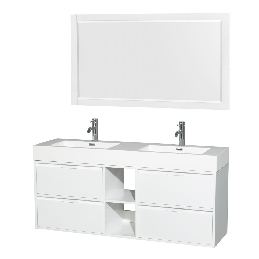 """Daniella 60"""" Wall-Mounted Double Bathroom Vanity Set With Integrated Sinks by Wyndham Collection - Glossy Whitenohtin Sale $1199.00 SKU: WC-R4600-60-VAN-WHT :"""