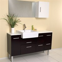 Fresca Serio Espresso Modern Bathroom Vanity with Mirror & Side Cabinet FVN6143ES