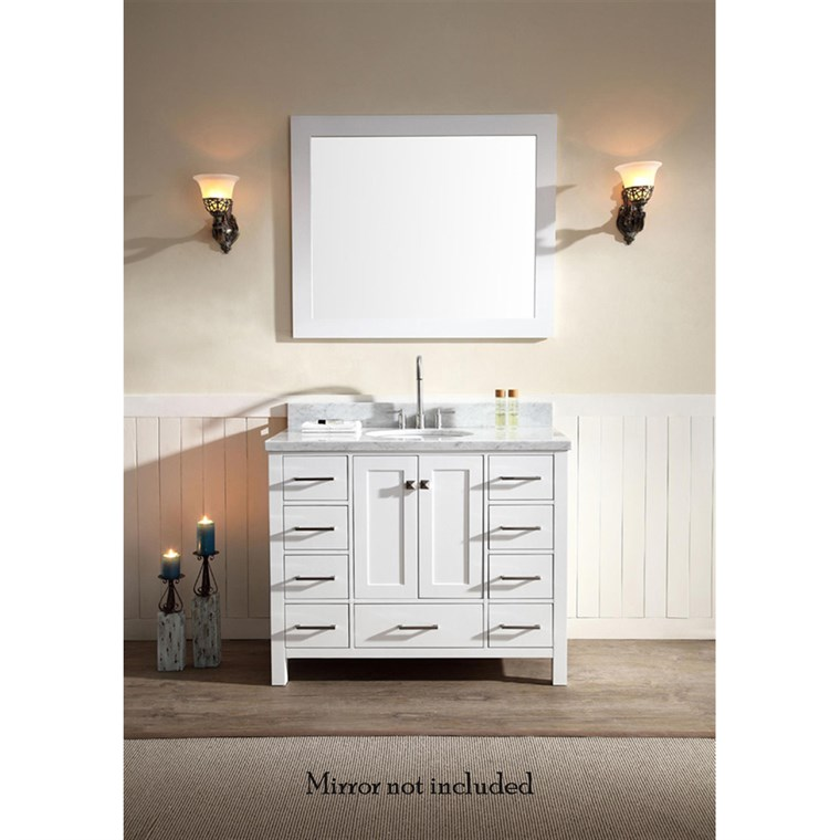 "Ariel Cambridge 43"" Single Sink Vanity with Carrara White Marble Countertop - White A043S-VO-WHT"