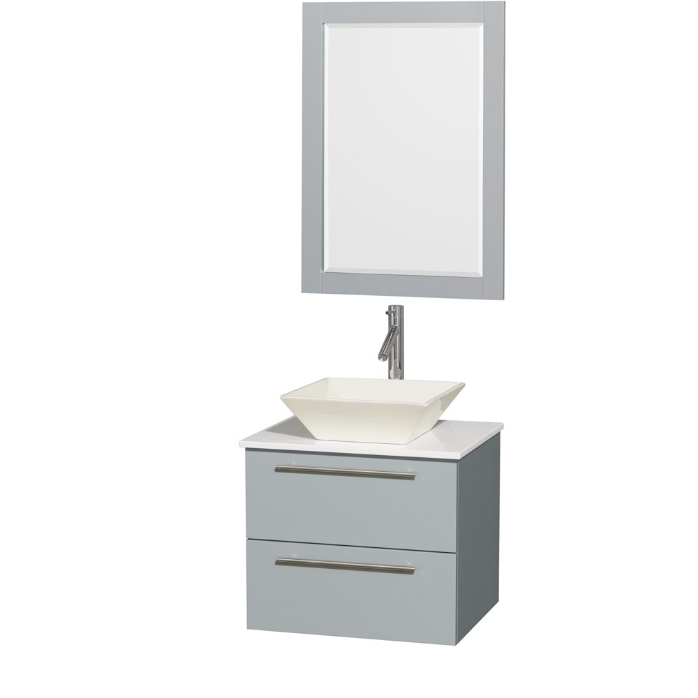 Amare 24 inch Wall Mounted Bathroom Vanity Set with Vessel Sink by Wyndham Collection Dove Gray