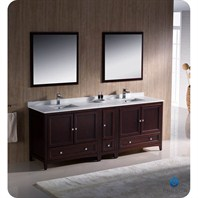 "Fresca Oxford 84"" Traditional Double Sink Bathroom Vanity with Side Cabinet - Mahogany FVN20-361236MH"