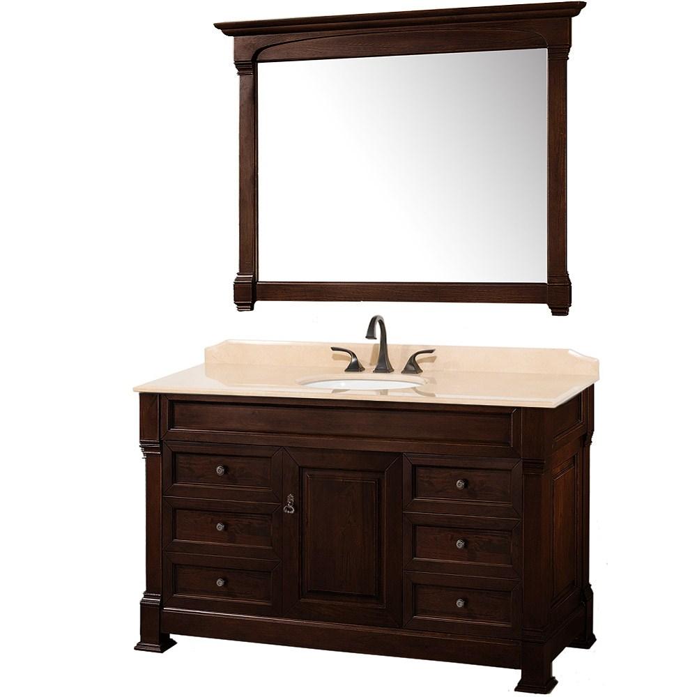 "Andover 55"" Traditional Bathroom Vanity Set by Wyndham Collection - Dark Cherrynohtin Sale $1599.00 SKU: WC-TS55-DKCH :"