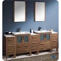 "Fresca Torino 84"" Walnut Brown Modern Double Sink Bathroom Vanity with 3 Side Cabinets & Undermount Sinks FVN62-72WB-UNS"