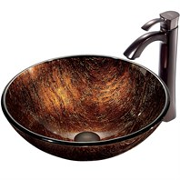 VIGO Kenyan Twilight Glass Vessel Sink and Faucet Set in Oil Rubbed Bronze VGT197