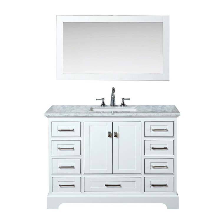 "Stufurhome Newport White 48"" Single Sink Bathroom Vanity with Mirror - White HD-7130W-48-CR"