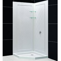 "Bath Authority DreamLine SlimLine Neo Shower Base and QWALL-4 Shower Backwalls Kit (40"" by 40"") DL-6184-01"